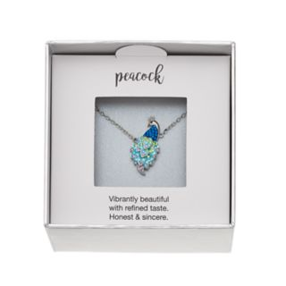 Silver Plated Crystal Peacock Necklace