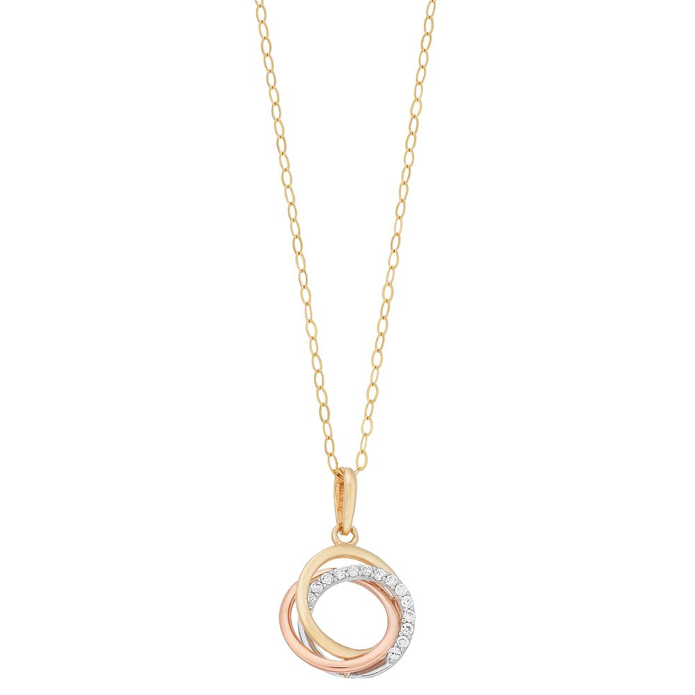 Tri Tone 10k Gold Cubic Zirconia Triple Ring Pendant