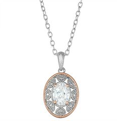 Lily & Lace Cubic Zirconia Two-Tone Oval Milgrain Pendant