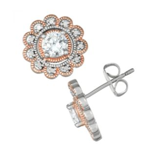 Lily & Lace Cubic Zirconia Flower Two-Tone Stud Earrings