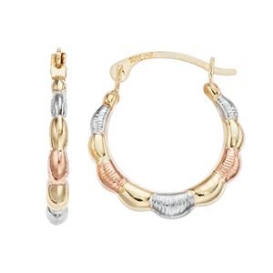Stella Grace 10k Scalloped Tri-Color Hoop Earrings
