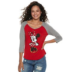 Disney's Mickey Mouse 90th Anniversary Juniors' Minnie Mouse Raglan Tee