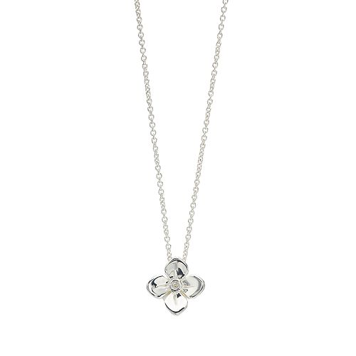 love this life Sterling Silver Flower Pendant Necklace
