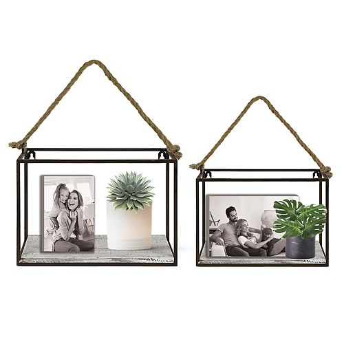 The Gallery Collection Rustic Industrial Shelf 2-piece Set