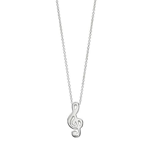 love this life Sterling Silver Silver Treble Clef Pendant Necklace
