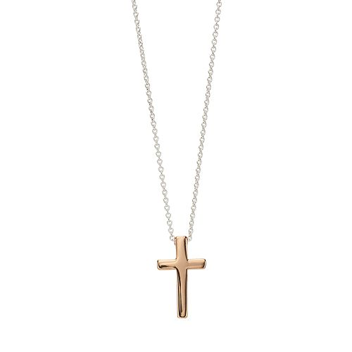 love this life Rose Gold Tone Cross Pendant Necklace
