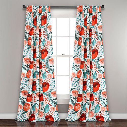 Lush Decor 2-pack Poppy Garden Room Darkening Window Curtain