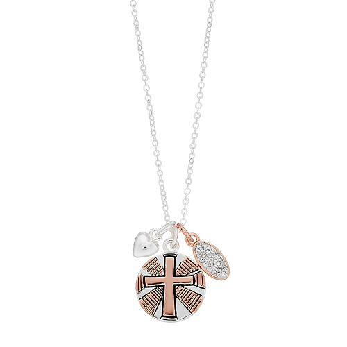 """Grace and Gratitude """"I'll Be Back Jesus"""" Crystal Cross Charm Necklace"""