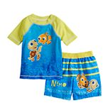 Disney / Pixar Finding Nemo Baby Boy Raglan Rash Guard Top & Striped Swim Trunks