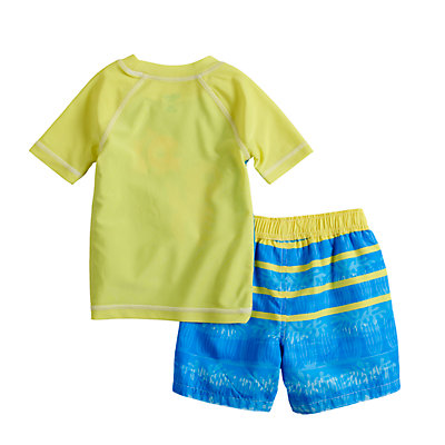 Disney / Pixar Finding Nemo Baby Boy Raglan Rash Guard Top & Striped Swim Trunks