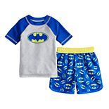 Toddler Boy DC Comics Batman Raglan Rash Guard & Swim Trunks Set