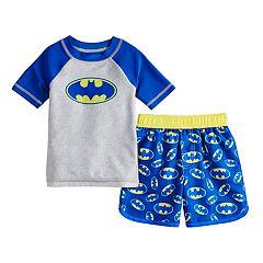5471ec13e8 Toddler Boy DC Comics Batman Raglan Rash Guard & Swim Trunks Set