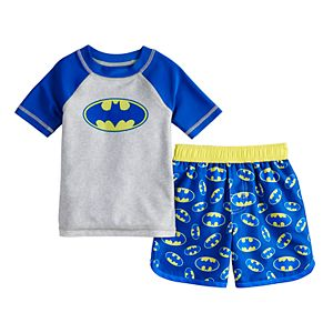 24cf51ab65 Sale. $19.00. Original. $38.00. Toddler Boy DC Comics Batman Raglan Rash  Guard & Swim Trunks Set