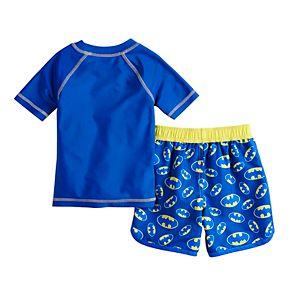 Toddler Boy DC Comics Batman Raglan Rash Guard & Swim Trunks Set