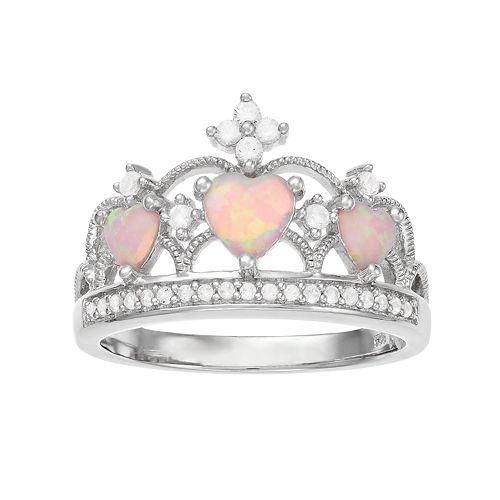 Sterling Silver Lab-Created Pink Opal & White Sapphire Crown Ring