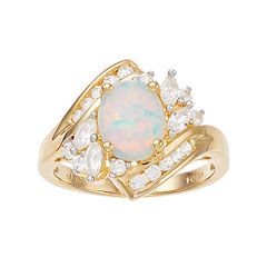 14k Gold Over Silver Lab-Created Opal & White Sapphire Bypass Ring