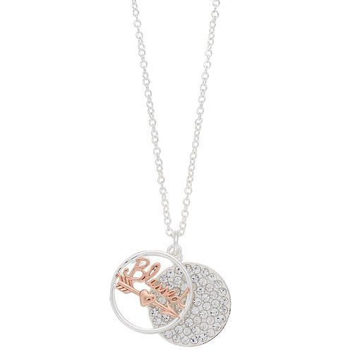 """Grace and Gratitude """"Too Blessed to be Stressed"""" Crystal Pendant Necklace"""