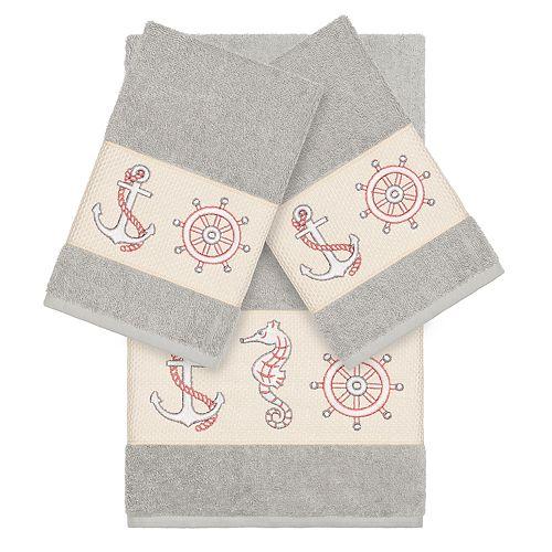 Linum Home Textiles 3-piece Turkish Cotton Easton Embellished Towel Set