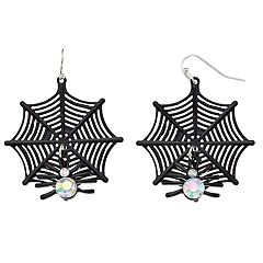 Simulated Crystal Spider Web Nickel Free Drop Earrings