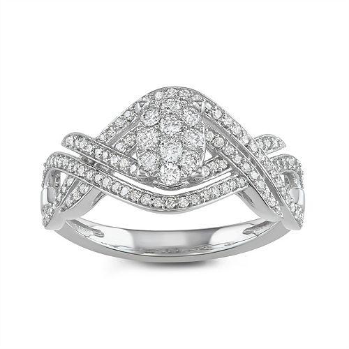 Lovemark 10k White Gold 1/2 Carat T.W. Diamond Twist Ring