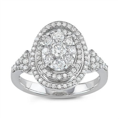 Lovemark 10k White Gold 1 Carat T.W. Diamond Tiered Oval Halo Ring