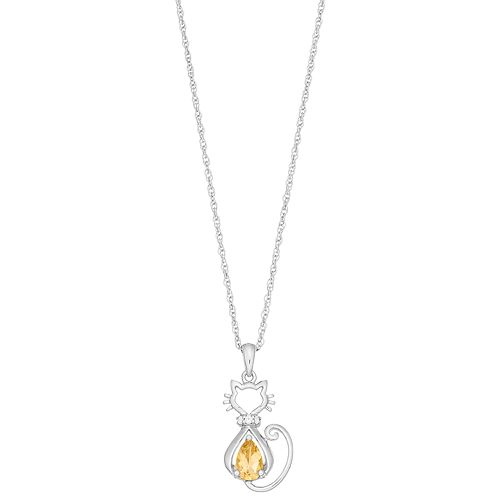 Sterling Silver Gemstone & Lab-Created White Sapphire Cat Pendant