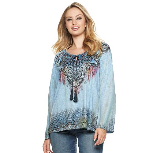 Women's World Unity Printed Peasant Top