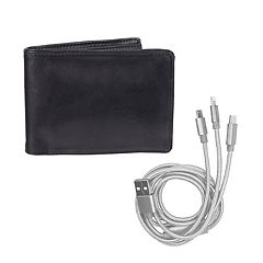 Men's Exact Fit RFID Stretch Bifold Wallet with 3-in-1 USB Charging Cord
