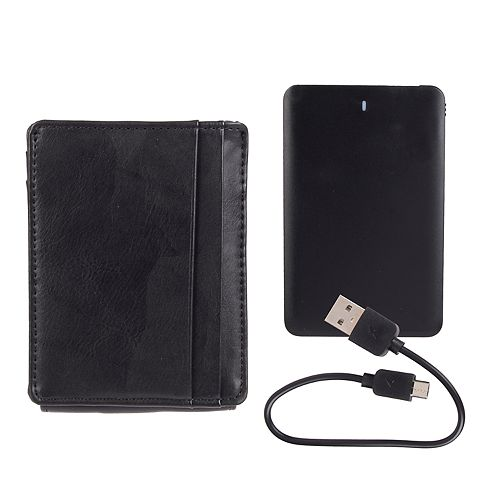 Men's Exact Fit RFID Stretch Wide Magnetic Front Pocket Wallet with Charger