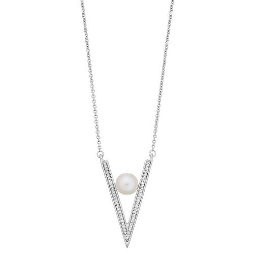 Simply Vera Vera Wang Sterling Silver 1/10 Carat Diamond & Pearl V Pendant Necklace