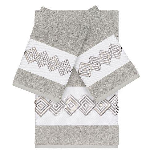 Linum Home Textiles Turkish Cotton Noah 3-piece Embellished Towel Set