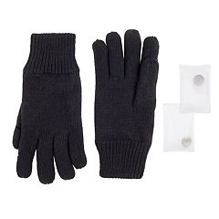 Men's Knit Gloves with Reusable Built-in Handwarmers