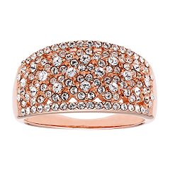Diamond Splendor 18k Rose Gold Over Silver Crystal Ring