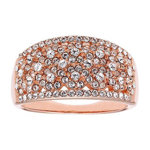 Diamond Splendor 18k Rose Gold Over Silver Crystal Ring