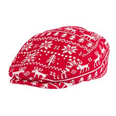 Wembley Red Reindeer Fairisle Ivy Cap