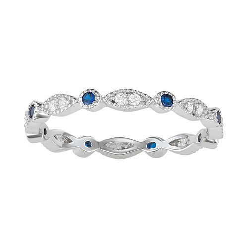 Sterling Silver Lab-Created Blue Spinel & Cubic Zirconia Geometric Ring