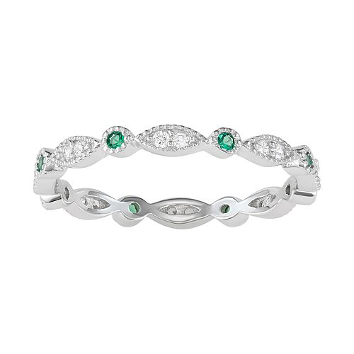 Sterling Silver Lab-Created Green Spinel & Cubic Zirconia Geometric Ring