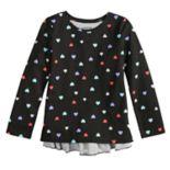 Girls 4-12 Jumping Beans® Long-Sleeve Glitter Graphic Ruffled-Back Tee