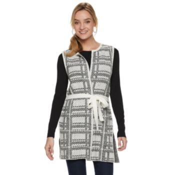 Women's ELLE? Jacquard Tie-Front Sweater Vest
