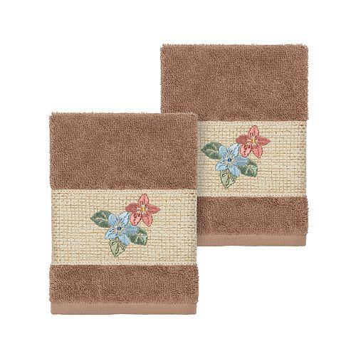 Linum Home Textiles Turkish Cotton Caroline Embellished Washcloth Set