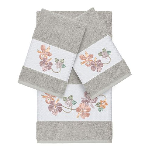 Linum Home Textiles Turkish Cotton Caroline 3-piece Embellished Towel Set