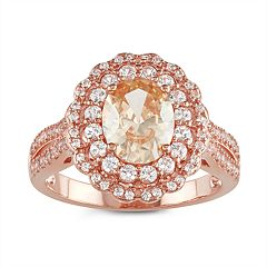 14k Rose Gold Over Silver Champagne Cubic Zirconia & Lab-Created White Sapphire Ring