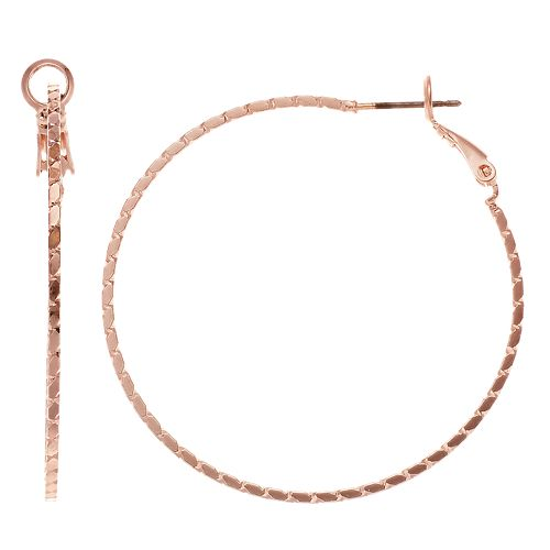 Rose Gold Tone Textured Nickel Free Hoop Earrings