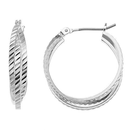 Silver Tone Textured Layered Nickel Free Hoop Earrings