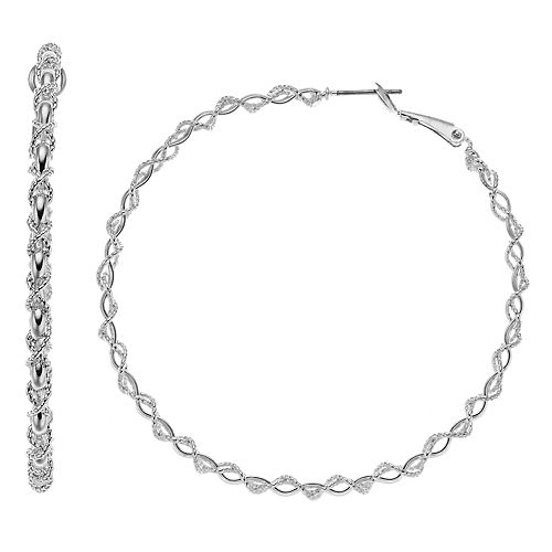 Silver Tone Chain Detail Twist Nickel Free Hoop Earrings
