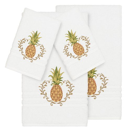 Linum Home Textiles 4-piece Turkish Cotton Welcome Embellished Towel Set