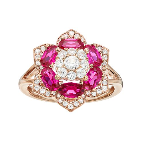 14k Rose Gold Over Silver Lab-Created Ruby Flower Ring