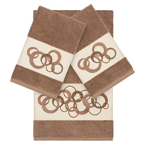 Linum Home Textiles Turkish Cotton Annabelle 3-piece Embellished Towel Set