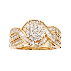 Lovemark 10k Gold 1 Carat T.W. Diamond Tiered Cluster Ring