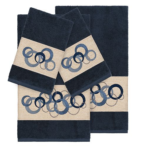 Linum Home Textiles Turkish Cotton Annabelle 4-piece Embellished Towel Set